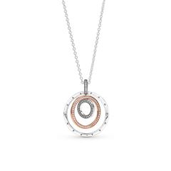 Necklace Circles For Ladies In 925 Sterling Silver, Bicolour