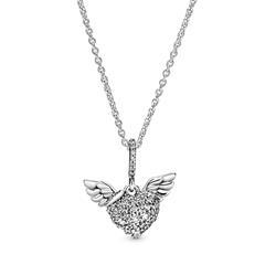 Kette Herz mit Engelsflügeln aus 925er Silber Zirkonia