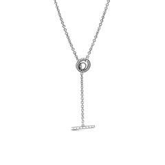 Y-Kette für Damen aus 925er Silber mit Zirkonia