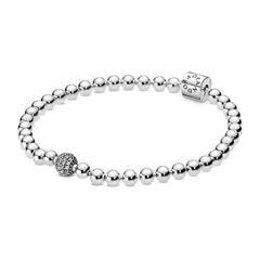 Damen Armband Beads und Pavé aus Sterlingsilber