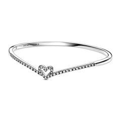 Wishbone Armreif Herz aus 925er Silber mit Zirkonia