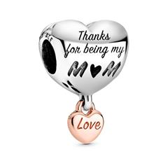 Herz Charm Love You Mom aus 925er Silber, ROSE