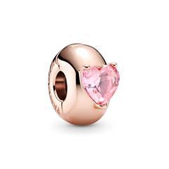 Roséfarbener Clip Charm mit Herz Kristall, rosa