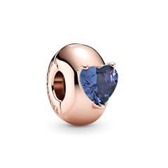Roséfarbener Clip Charm mit Herz Kristall, blau