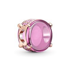 ROSE Cabochon Charm mit Schmuckkristall, rosa