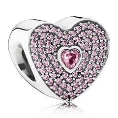 Herzförmiger Charm Zirkonia Silber