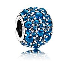 925er Silber-Bead mit blauen Schmucksteinen