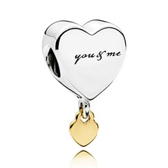 Herz Charm you & me 925er Silber