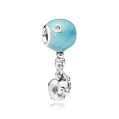 Charm Elephant Blue Ballon 925er Silber