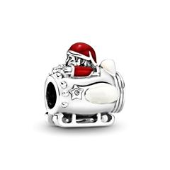 Charm Santa in Space aus Sterlingsilber