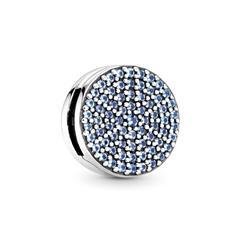 Reflexions Clip Charm aus 925er Silber Kristalle, blau