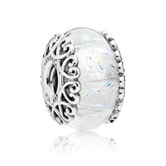Bead aus Glas mit Herzfassung aus 925er Silber