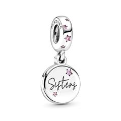 925er Silber Charm Forever Sisters mit rosa Zirkonia
