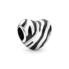 Herz Charm Wild Stripes aus 925er Silber und Emaille