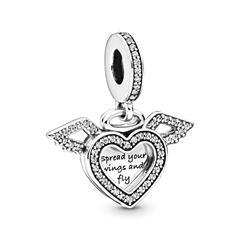 Charm Anhänger Geflügeltes Herz aus 925er Silber