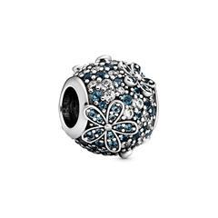 Aquamarin Gänseblümchen Charm aus 925er Silber