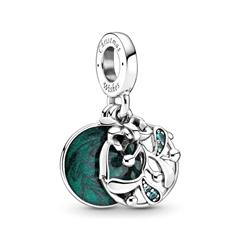 Charm Mistelzweig aus 925er Silber mit Emaille, grün