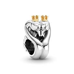 Zweifarbiges Schwäne und Herz Charm aus 925er Silber
