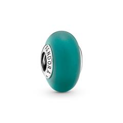 925er Silber Charm mit grünem Glas, mattiert