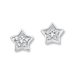 Mädchen Ohrstecker Sterne aus 925er Silber, Zirkonia