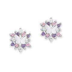 Schmetterlings-Ohrstecker aus 925er Silber mit Zirkonia