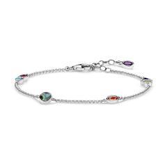925er Silber Armband Farbige Steine
