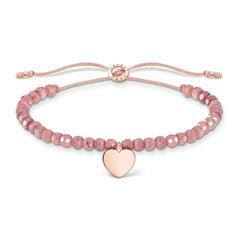 Engraved  Jasper Textile Bracelet With Heart Pendant, Rosé