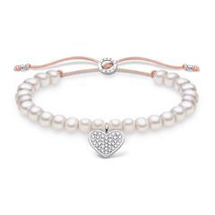 Perlenarmband mit Herzanhänger, gravierbar