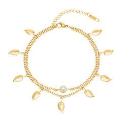 Zweireihige Fußkette Blätter Perle Edelstahl gold