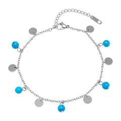 Edelstahl Fußkette türkise Perlen