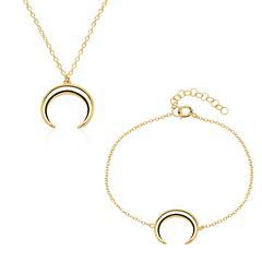 Set Kette und Armband Mond aus 925er Silber, vergoldet
