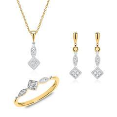 Kette, Ring und Ohrhänger aus 14K Gold mit Brillanten