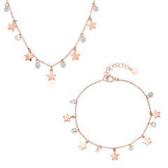 Set Funkelnde Sterne aus rosévergoldetem 925er Silber