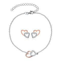 Herz Armband und Ohrstecker aus 925er Silber, rosé