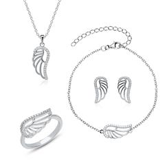 925 Silver Wing Jewellery Set With Zirconia