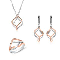Kette, Ohrringe und Ring aus 925er Silber mit Zirkonia