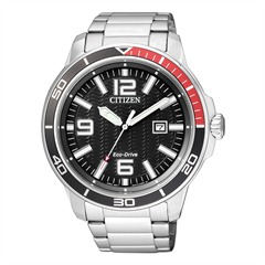 Citizen Sports Herrenuhr silber Eco-Drive AW1520-51E