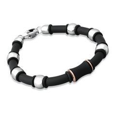 Glattes Kautschuk-Armband mit Edelstahlelement