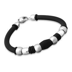 Schwarzes Kautschuk-Armband mit Edelstahlelement