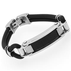 Kautschuk Armband Edelstahl & Carbon Elemente