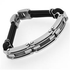 Kautschuk Armband Stahlseil & Carbon Elemente