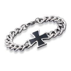 Modernes Armband Edelstahl mit Kreuz 21cm