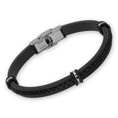 Herrenarmband schwarz Edelstahl