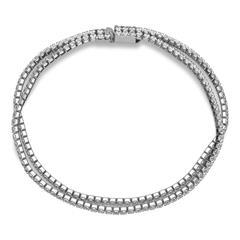 Zweireihiges Edelstahl-Armband silber Zirkonia