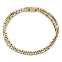 Edelstahl-Armband Gold-Finish Zirkonia zweireihig