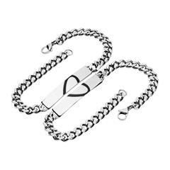 Armband Set Herz Edelstahl gravierbar