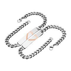 Edelstahl Armband Set Geteiltes Herz Gravur