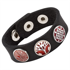Modernes Buttonarmband Leder schwarz