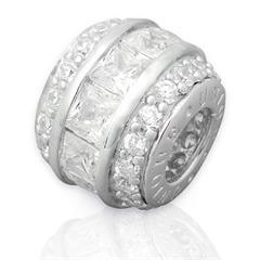 Moderner Silberbead: 925 Silber Bead Zirkonia BO0117