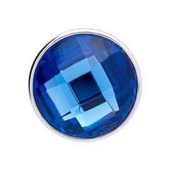 Button blaues Glas facettiert